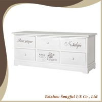Romantic Rose Printing Wood TV Console Cabinet and Stand