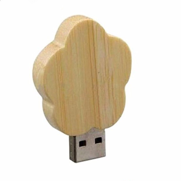 free samples promotional flower shaped wooden usb 2.0 flash drive