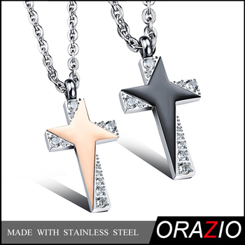 Orazio Jewelry-2016 New 2Pcs Matching Stainless Steel Couple Necklaces, His And Her Valentines Stone Set Couple Pendant