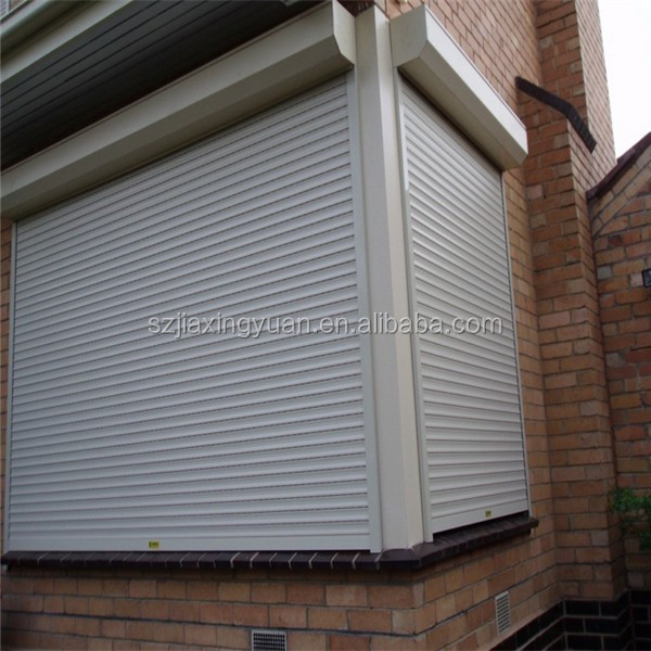 Safety electric aluminum roll up storm shutters buy roll up storm shutters exterior roll up for Roll up window shutters exterior