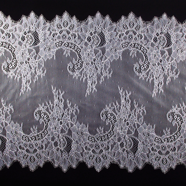 Hot selling eyelash lace trim design white color double scalloped nylon lace trim