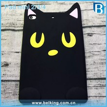 3D Cartoon Tab Silicone Black Cat Rubber Case For iPad Mini2/3/4 Soft Back Tablet Cover