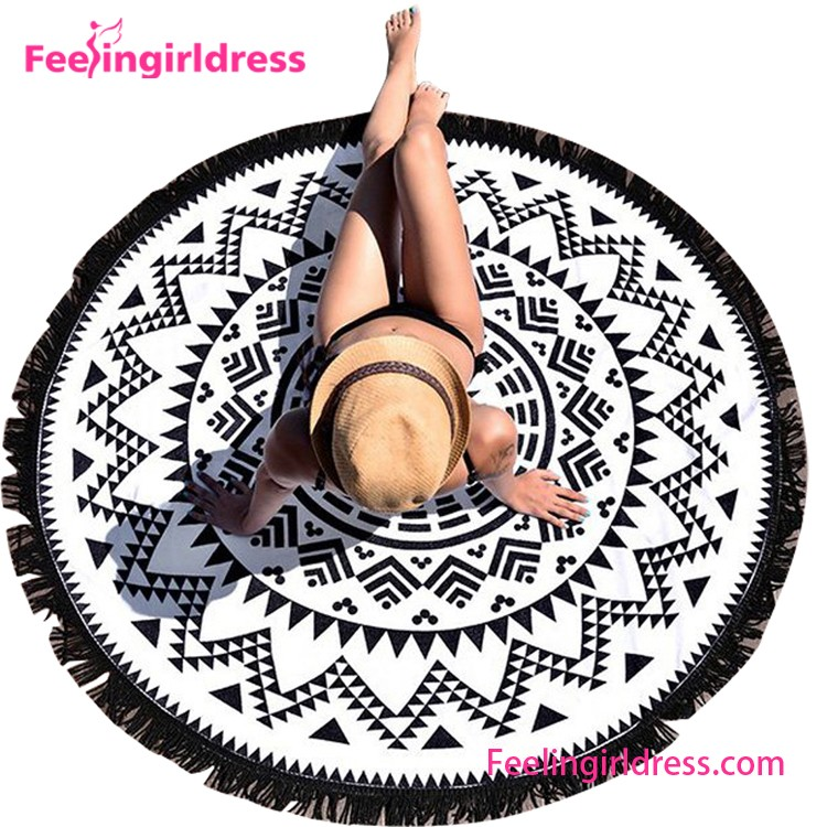 cheap price custom print round beach towel beach blanket nylon