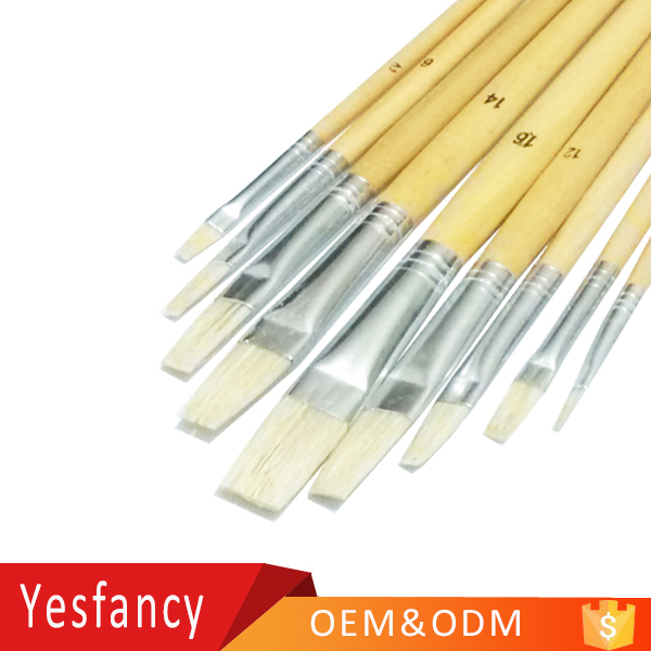 hot selling flat head bristle hair cheap paint brushes