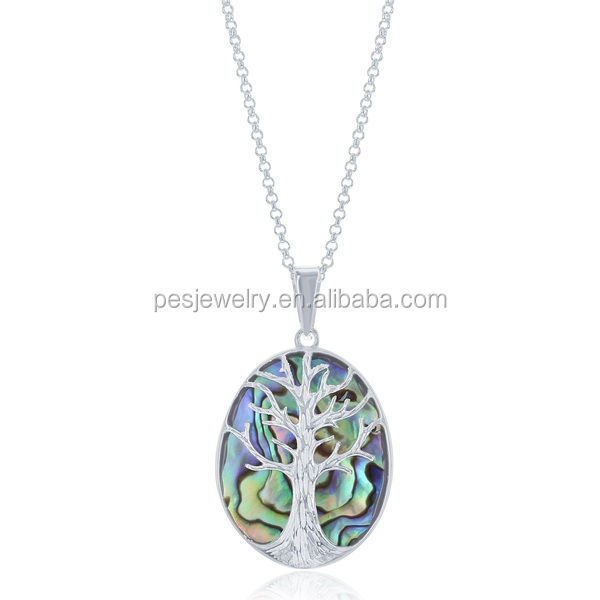 PES fashion jewelry! Abalone Paua Shell Family Tree of Life Oval Pendant Necklace (PES3-1194)