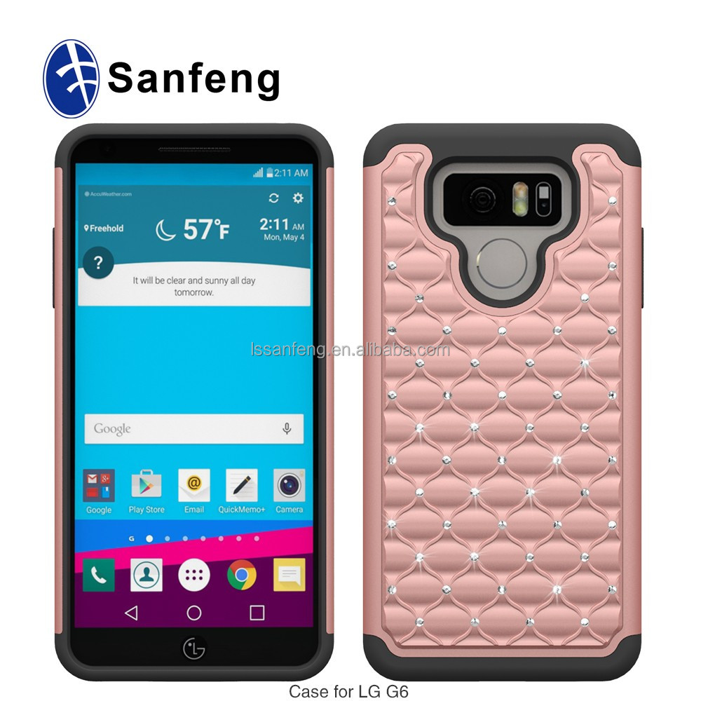 Hybrid Bling Diamond Case for LG G6 Hard Rugged Rubber Case Cover For LG G6