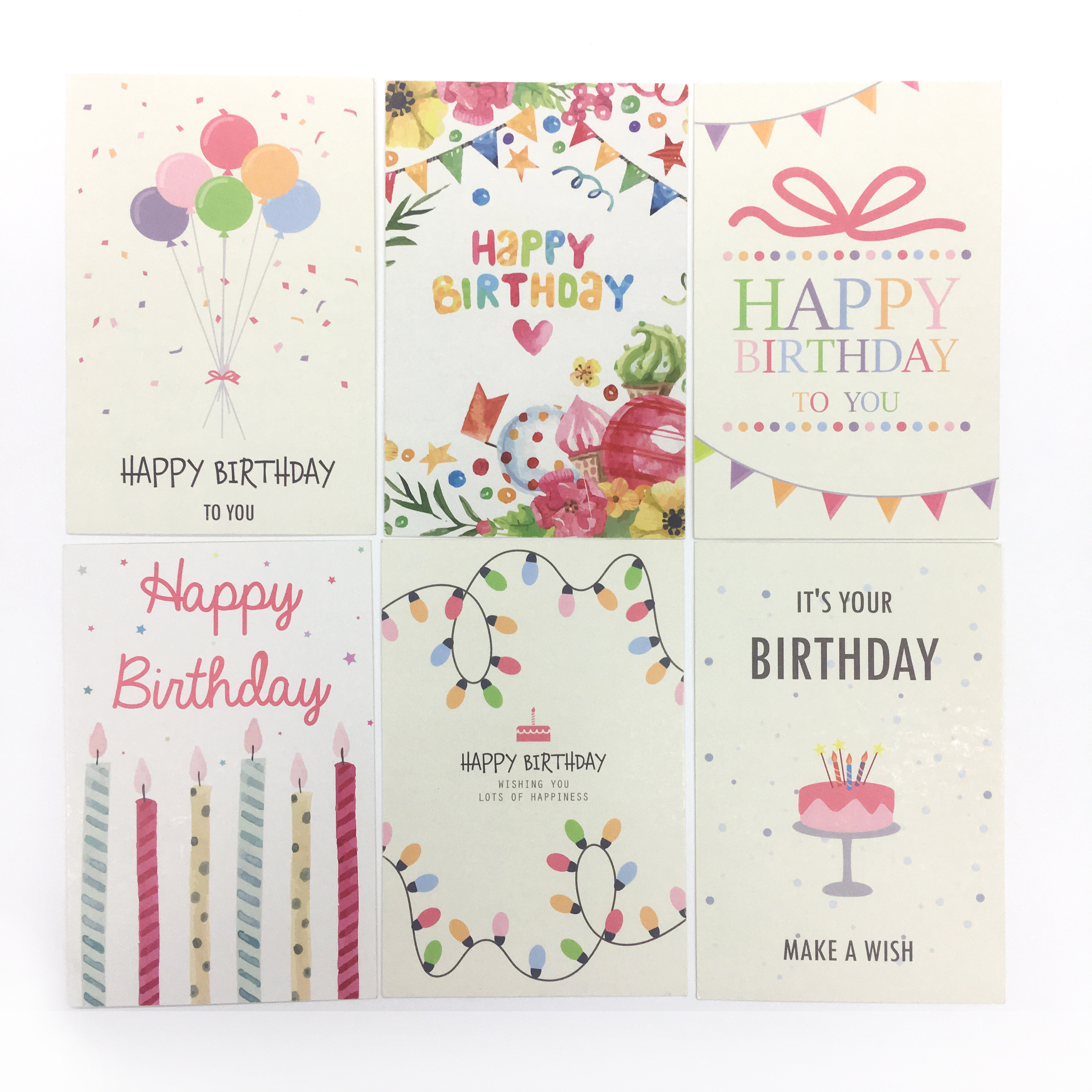 Custom Printing 4x6 inch Happy Birthday Cards Greeting With Envelopes