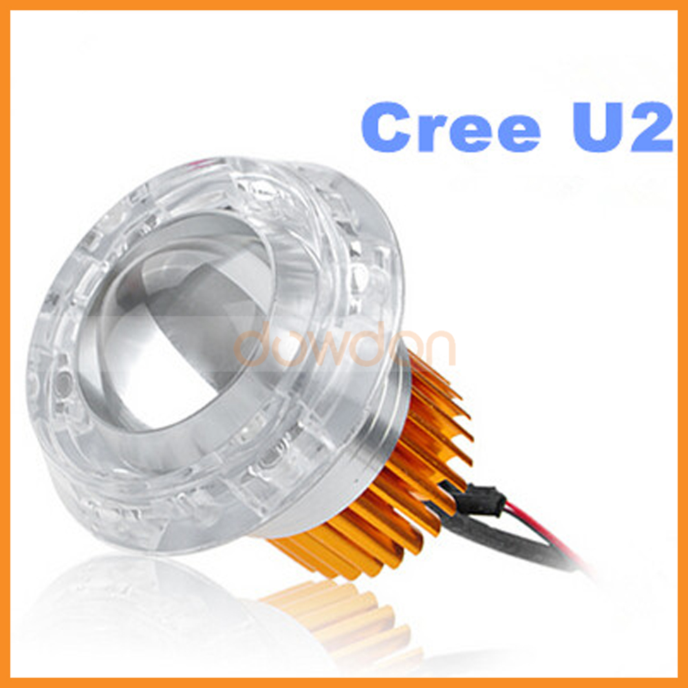 LED Devil Double Angel Eyes 30W Cree U2 LED Motorcycle Spotlights Glass Projector Lens Headlight