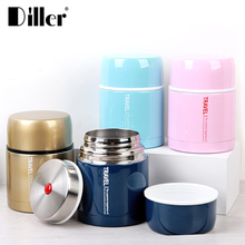 Custom printed round vacuum insulated thermos 304 stainless steel metal hot thermal tiffin lunch box for kids