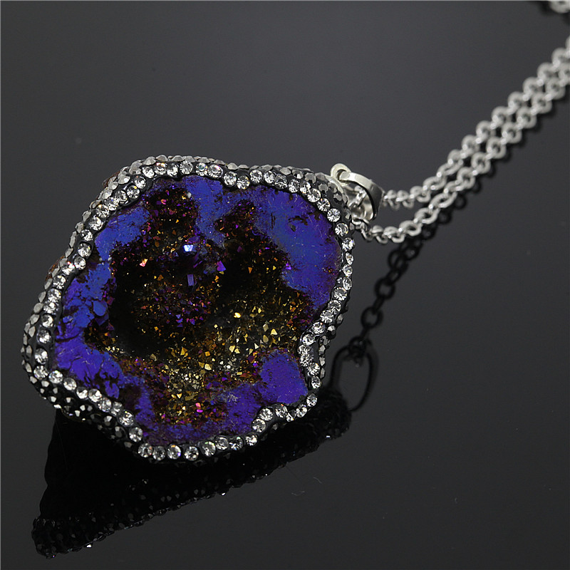 KJL-N0014 Luminous Blue Agate Druzy Slice Pendants,Freedom Shape Agate Pendant,Crystal Zircon Paved Pendants Necklace