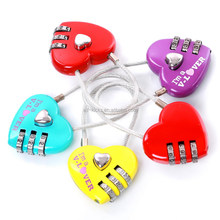 AJF red 3 dial digital metal cable love heart shaped luggage password lock