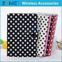 2015 New For Ipad Mini 1 Polka Dot Pu Slim Leather Wallet Cover With Magnetic Detachable Hard Case 2 In 1 For Ipad Mini 1