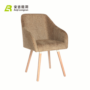 Morden Fabric Wooden Dining Chair leisure for Restaurant with wooden foot