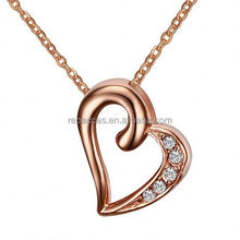 Stainless Steel single zircon stone nice design girlfriend heart pendant necklace