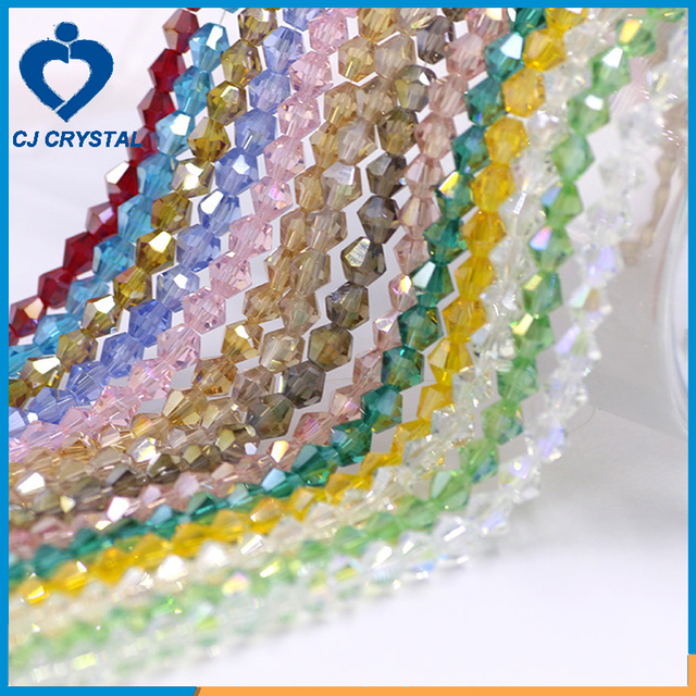 2017 Updated Design Colorful Crystal Bicone Beads Wholesale Glass Bicone Beads For Jewelry Making