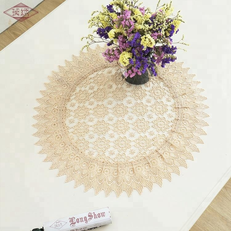 LongShow newest design khaki water soluble restaurant party table cloth