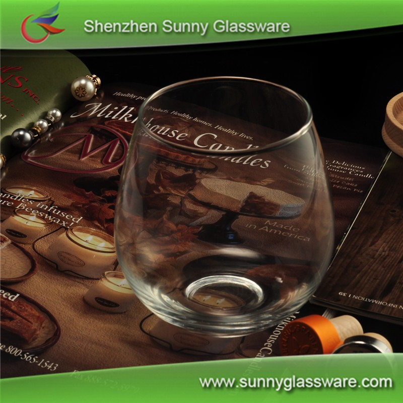 Machine blown red wine glass 15oz printed logo stemless