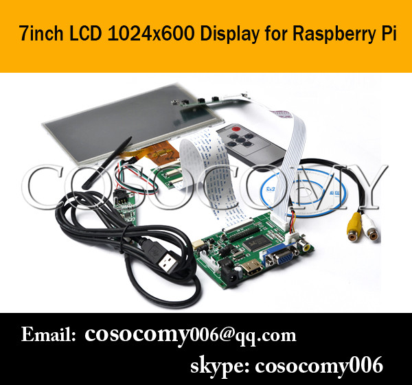 1024x600 High Resolution 7 Inch TFT Touch Screen LCD Monitor For Raspberry Pi with Driver Board HDMI VGA 2AV