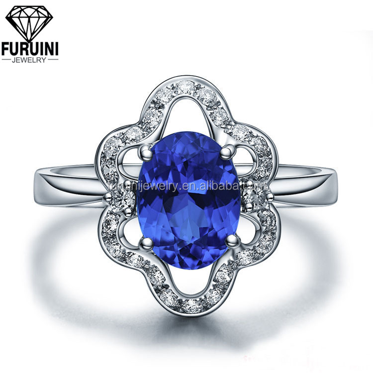 FBCRS093 High Quality 1 Carat Real Natural Blue Sapphire Gemstones Genuine Diamond Celtic Ring
