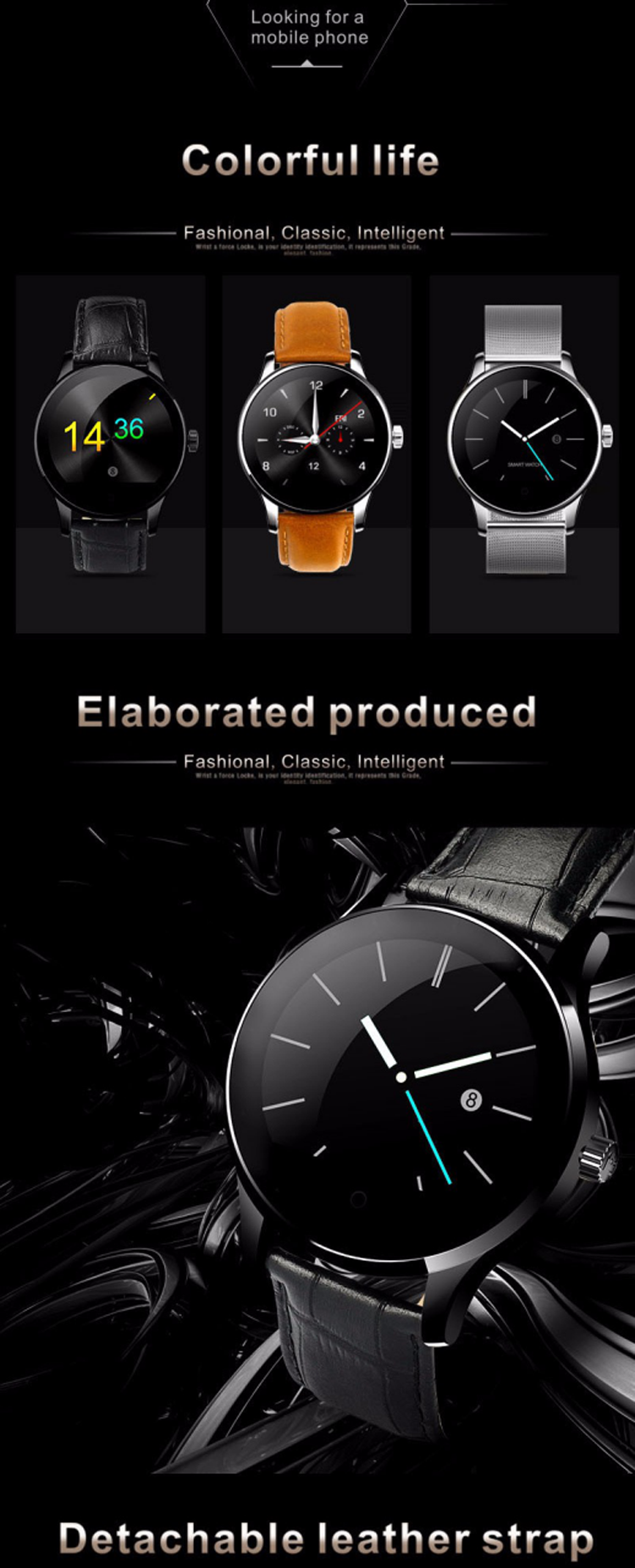 Luxury Slim Bluetooth Smart Watch K88H Wristwatch support Sim card NFC Phone Call Reminder smart watch iwo