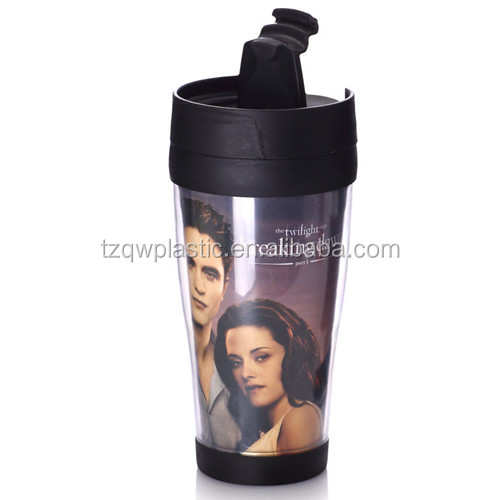 2014 news Plastic Insulated Double wall Travel Mug with photo insert