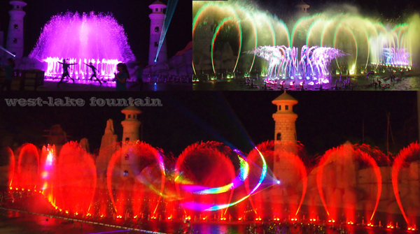 Large Modern Colorful Music Fountain at Vinpearl Phu Quoc of Vietnam
