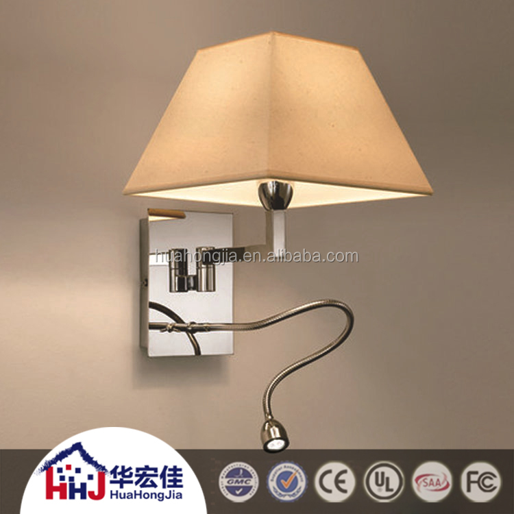 White Fabric Shade Bedside Hotel Wall Light /Wall Lamp With Outlet And LED Reading Lamp headboard