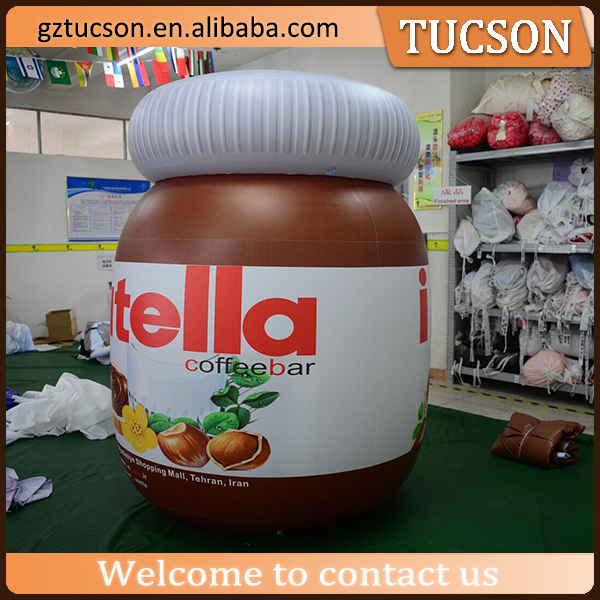 Customized advertising giant inflatable replica bottle /jar model for mall