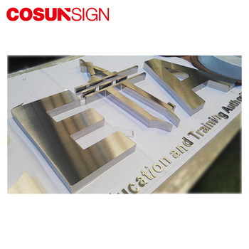 Custom electroplated polished brushed metal channel letter sign