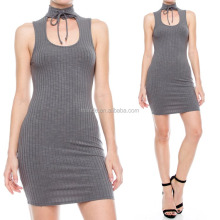 MOCK NECK LACE UP RIBBED SLEEVELESS BODYCON DRESS ONE PIECE MATURE LADIES FASHION DRESSES SEXY WITH PICTURES