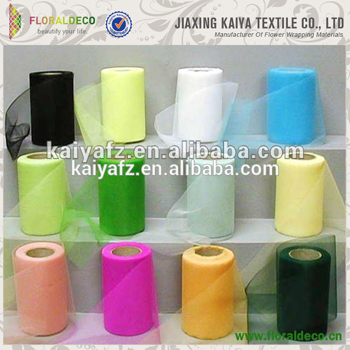 Cheap colorful plain polyester 100 yards wholesale tulle roll