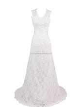 Glamerous long a-line white lace open back wedding dress with short train