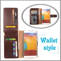 Wholesale newest leather wallet for sumsang multi-purpose mobile phone case with money compartment and card slot