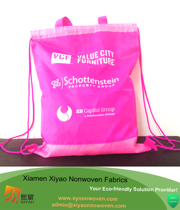 Promotional Backpack Bag Pink Drawstring Tote Cinch Sack