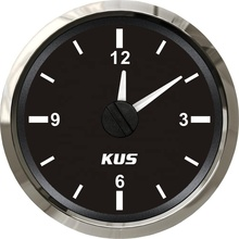 Universal Black KUS 52mm Car Boat Clock Meter Gauge 12-hour Format