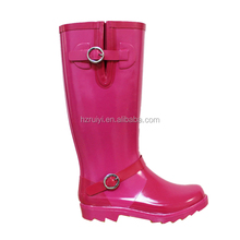 women PVC long boots with buckle OEM plastic waterproof flat shoes