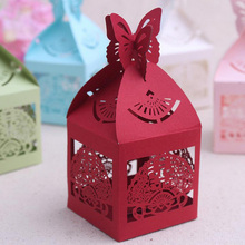 Wedding Supplies Butterfly on the Top Double Happiness Among the Fan Laser Cut Favor Box