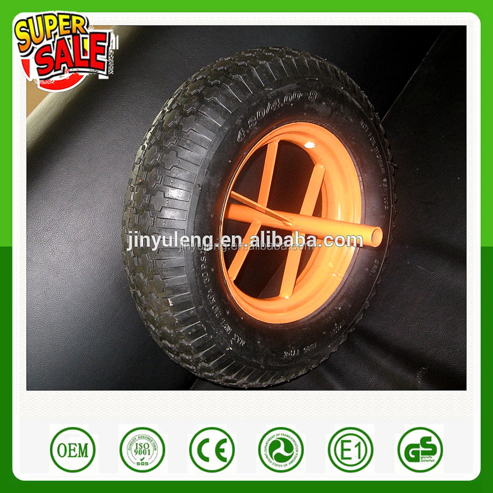 16 inches 4.00-8 prower pu fill rubber wheel for wheelbarrow hand truck trolley garden wagon pu solid wheel tubless style