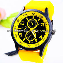 Vogue style men's wholesale silicone band fake chrono dial clock wrist watch