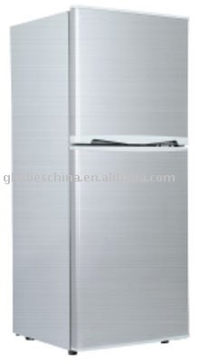 118L DC Solar Double Door Refrigerator with CE E-Mark RoHs