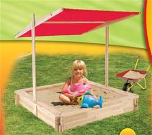 Outdoor garden Wooden kids sandbox with adjustable canopy for children HL-B-15001
