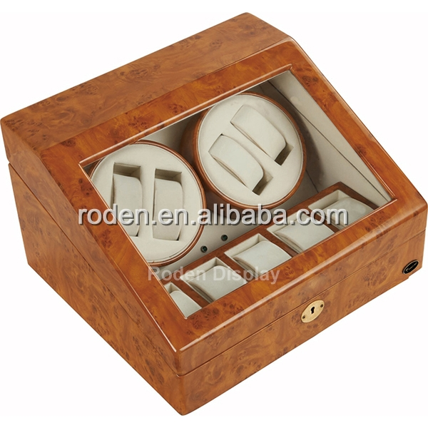 Hot Sale Japan Motor Glossy Watch Winder Double Watch*2+5 Storage With Clear Glass Window