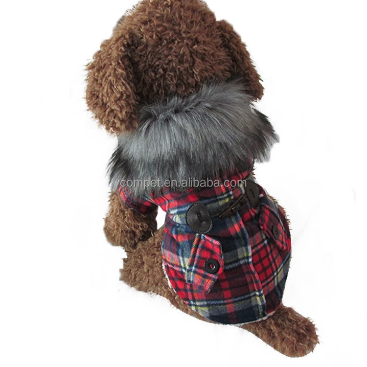 Luxury Fur Collar Horn Buttons Red and Blue Lattice Plaid Dog Coat with Extra Heavy Soft Wool Material fit for Autumn and Winter