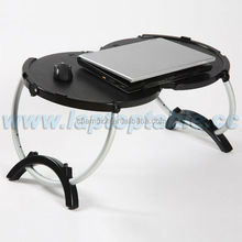 laptop accessories manufacturers ABS folding round tables with fan and alum legs
