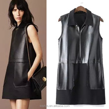 Winter And Autumn Fashion Pu Leather Turndown Collar Dresses Sleeveless Adult Lady Girls Party Dress