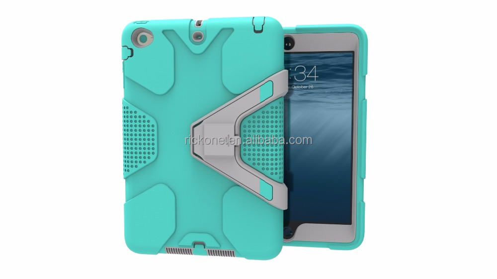 Case for iPad Mini 1 2 3 Heavy Duty Plastic+Rubber Cover Case for Apple iPad Mini 1 2 3 Hybrid 3in 1 with Stand Holder