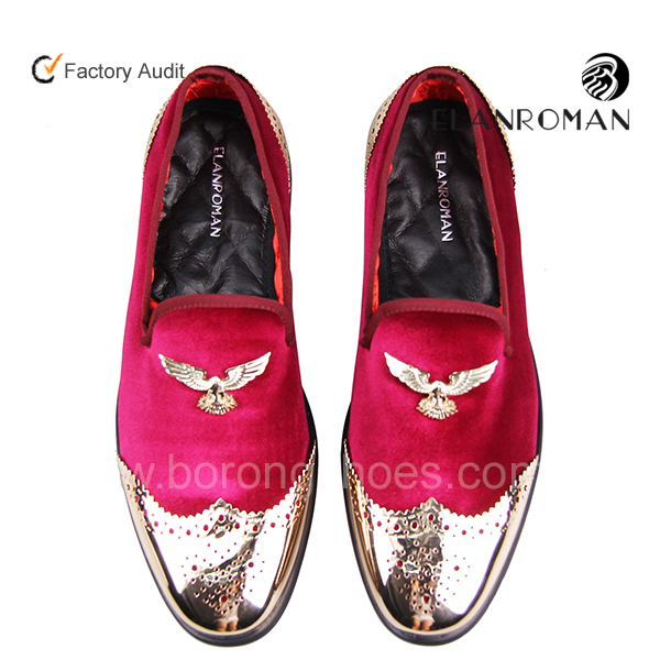 Stylish Luxury Formal Copper Buckle Gold Cap Toe Party Wear Shoes for Men Custom Made Shoes Men Velvet Loafers with Metal Eagle