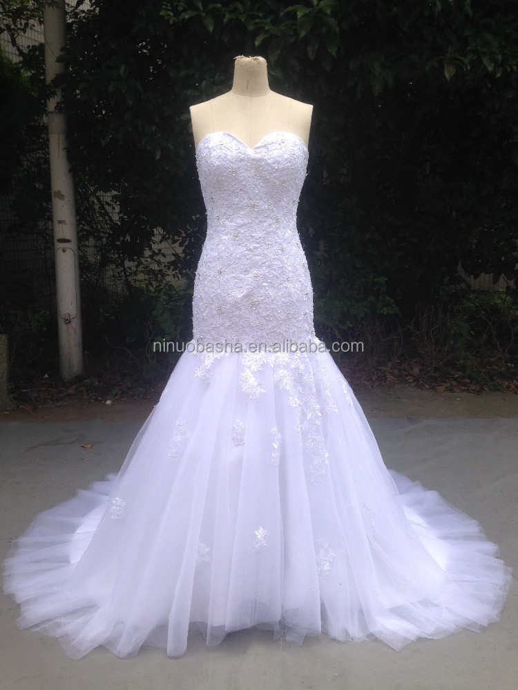2015 Real Photoes In Stock Mermaid Lace Appliques Sweetheart Wedding Dress Fast Shipping White Tulle Bridal Dresses NB1278