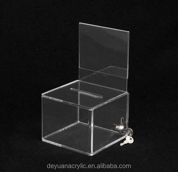 small transparent acrylic donation box with lock