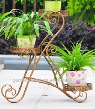 wholesale vintage art handicrafts outdoor planter holder shelf 3 tier wrought iron plant stands